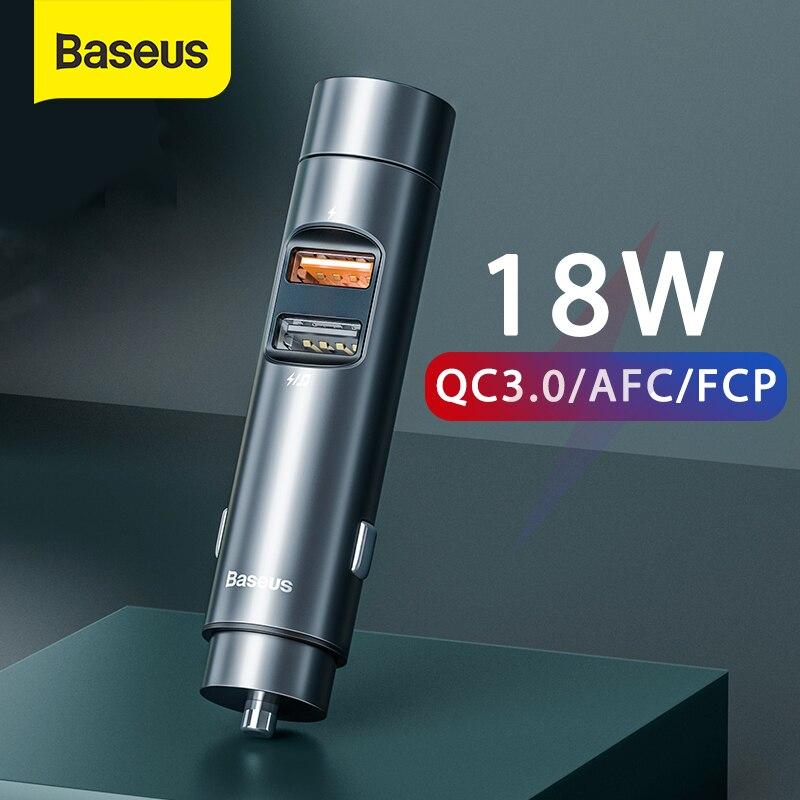 Baseus zestaw samochodowy Bluetooth zestaw głośnomówiący Bluetooth 5.0 z szybkiego ładowania 18W do samochodu MP3 Radio odtwarzacz Modulator FM