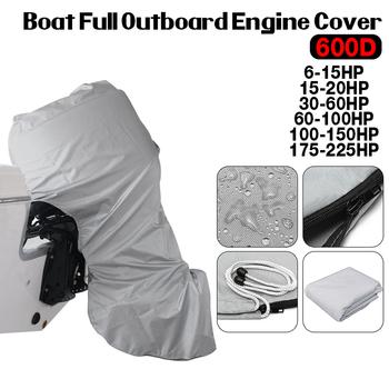 600D łódź pełna pokrywa silnik zaburtowy szary silnik osłony silnika Protector dla 6-225HP wodoodporny tanie i dobre opinie 60 quot 144*180cm 60inch Boat Engine Protector 60-100HP 100-150HP 175-225HP 6-15HP 15-20HP 30-60HP