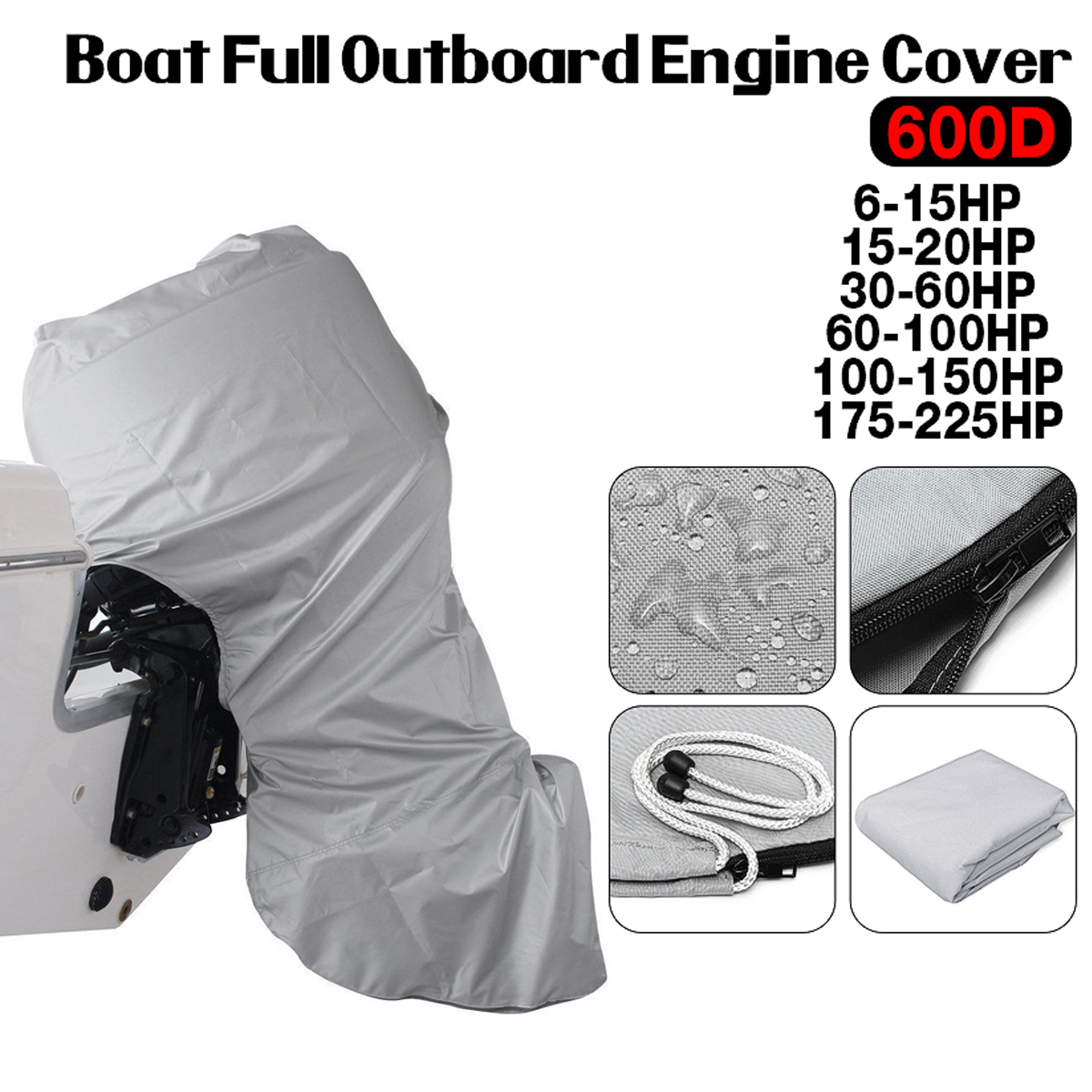 Fit 6-225HP Motor Full Outboard Boat Engine Cover 420D Black Waterproof US
