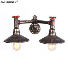 Industrial Water Pipe Wall Light Double Vintage LED Wall Lamp Bedside Iron Loft Decor Edison Lights Wall Sconce Home Lighting(China)