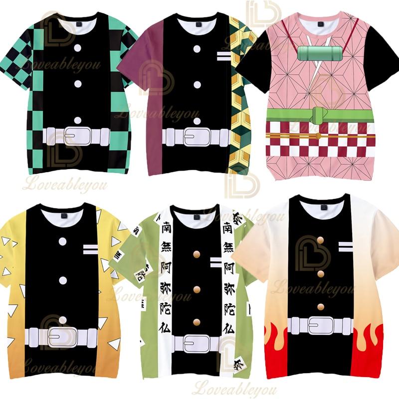 Kids 3T To  14T T Shirt Demon Slayer: Kimetsu No Yaiba 3D Print T Shirt Harajuku Style Women Men Short Sleeve Funny Graphic Tees