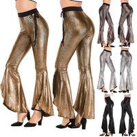 Модные женские расклешенные брюки с высокой талией, сексуальные тянущиеся брюки, асимметричный обтягивающий пояс, повседневные длинные шт...