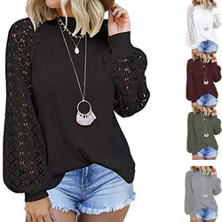 2020 European and American new round neck long sleeve lace stitching loose top women