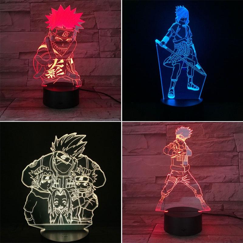 Naruto 3D LED Night Light 7 Color Changing Lamp Uzumaki Naruto Room Decoration Action Figure Toy For Birthday Christmas Gift
