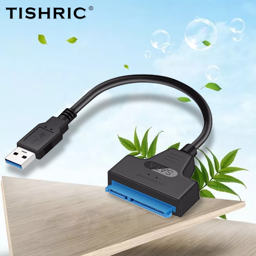 TISHRIC SATA USB Adapter SATA 3 To USB 3.0  SATA Cable TYPE-C Converter For 2.5 SSD HDD Hard Disk Driver Up To 6Gbps 22Pin