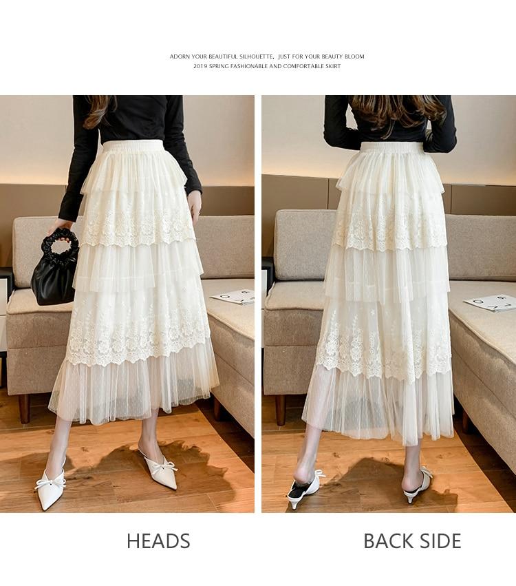 Elegant High Waist Black  Lace Tulle Women Skirt