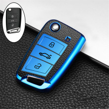 Car Key Case Cover For Volkswagen VW Polo Golf 7 MK7 Tiguan passat For Skoda Octavia Kodiaq Karoq For Seat Ateca Leon Key Bag