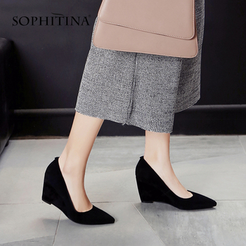 SOPHITINA Office Women Pumps Pointed Toe High Quality Genuine Leather High Wedges Shallow New Shoes Fashion Elegant Pumps PO504