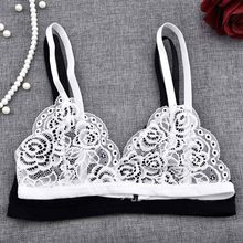 Hot Girls Lace Bra Sexy Embroidery Floral See Through Bra Women Underwear White Black Bralette Wireless Seamless Bra wokeayer(China)