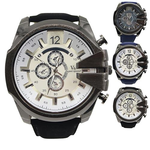 Men Big Dial Faux Leather Band Stainless Steel Analog Quartz Sports Wrist Watch Reloj Hombre Men Watch Mas-culino Fashion Men's