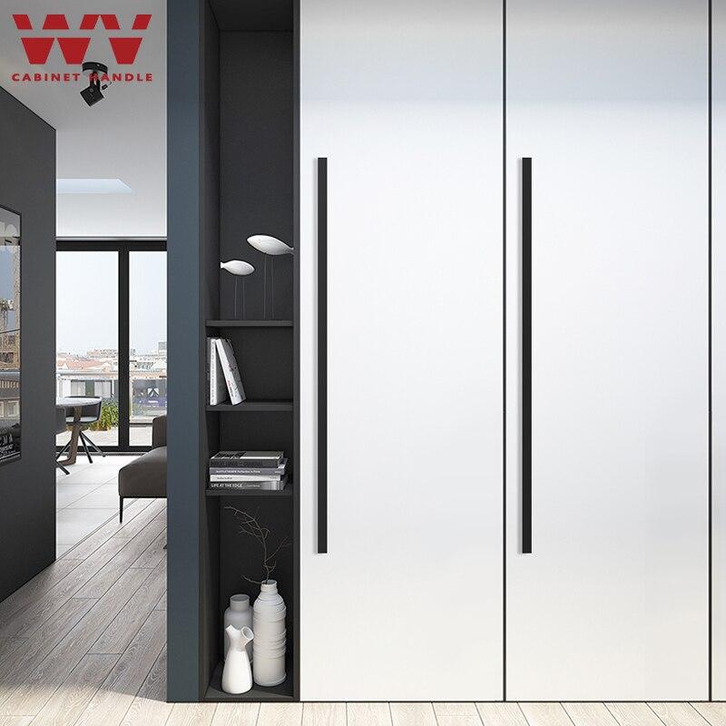 Wv americano preto armário porta alças moderno 1000mm 1200mm longo minimalista alças gaveta armário do guarda-roupa puxa liga de alumínio