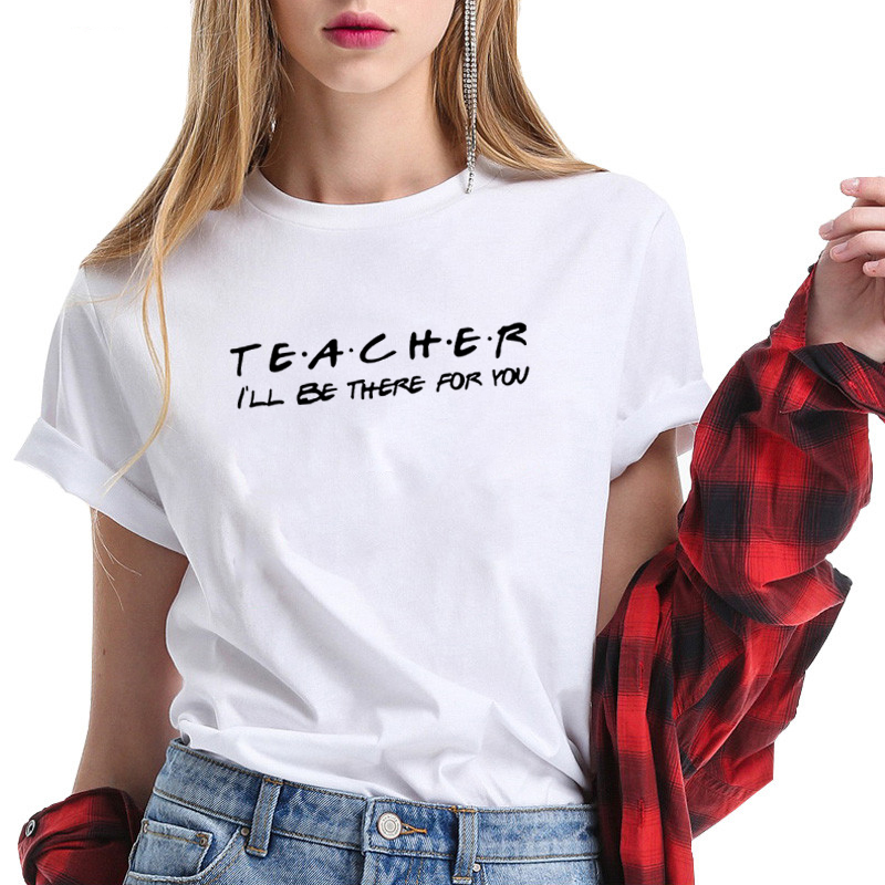 TEACHER Print T Shirt For Women Short Sleeve Loose T Shirt Top Casual Summer Streetwear Black & White Tee Shirt Femme