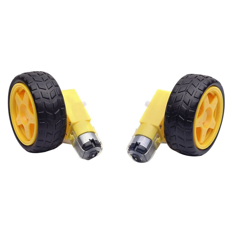 ABKT-2Pcs Plastic Tire Wheel with Gear Motor Dual Shaft for Smart Car Robot Arduino (Pack of 2) enlarge