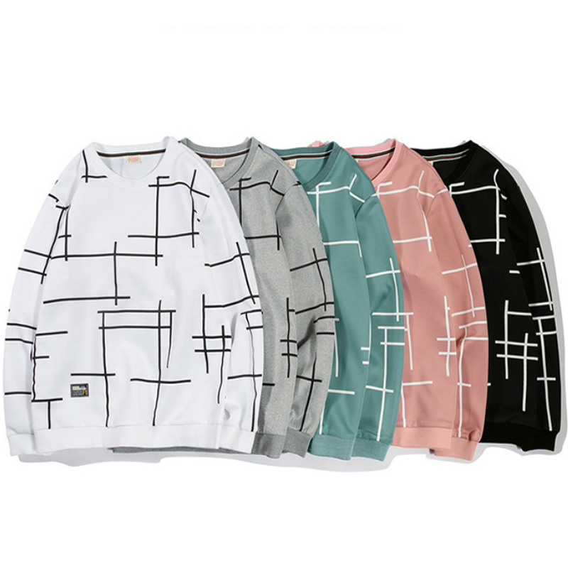 Fashion Hoodies Sweatshirt Long-Sleeve Geometric Plaid Off White Plus-Size Casual M-4XL