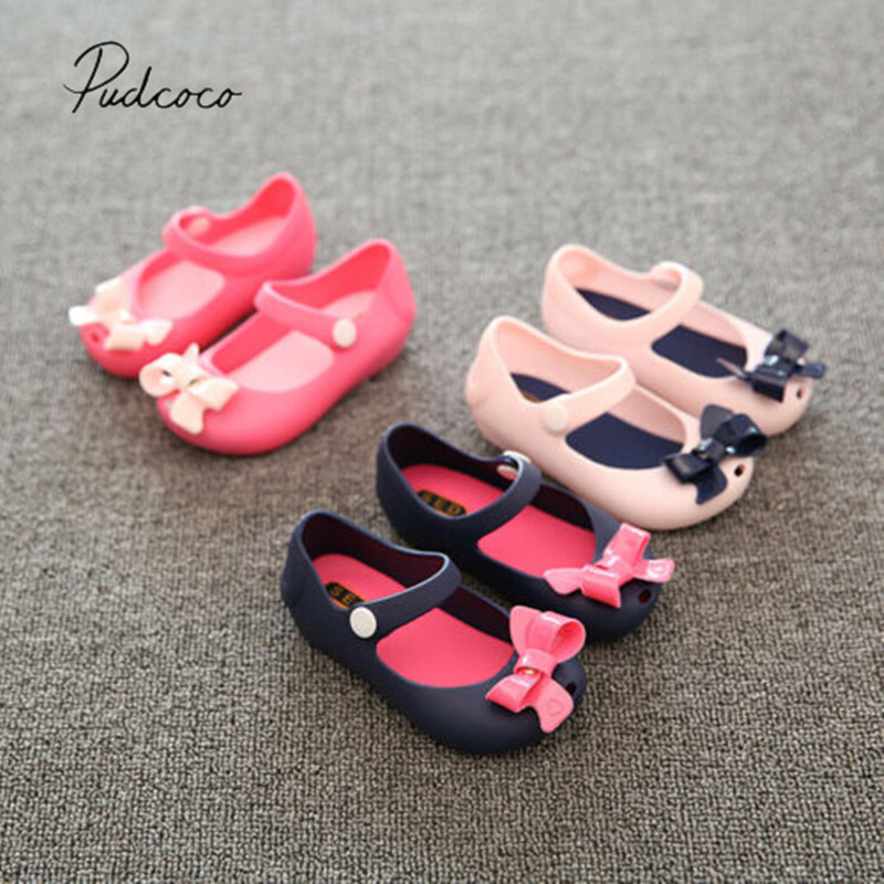 Baby Summer Shoes Children Infant Baby Girls Kids Princess Sandals Shoes Non-Slip Plastic Bow Buckle Jelly Shoes 1-6Y