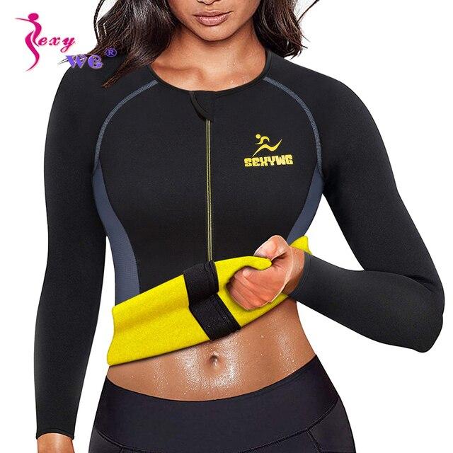 SEXYWG Slimming Body Shaper Fitness Tight Women Neoprene Sauna Suit Waist Trainer Shapewear Zipper Yoga Shirt Long Sleeve Blouse