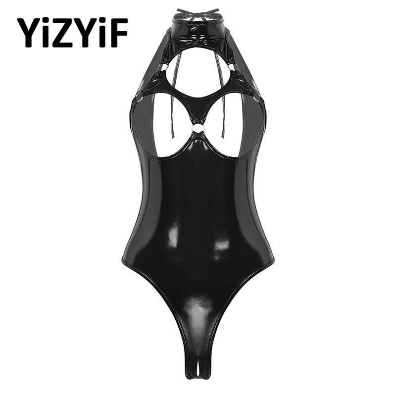 Sexy Lingerie Wet Look Patent Leather Halter Neck Sleeveless Hollow Out Nipples Open Back Crotchless Thong Leotard Bodysuit
