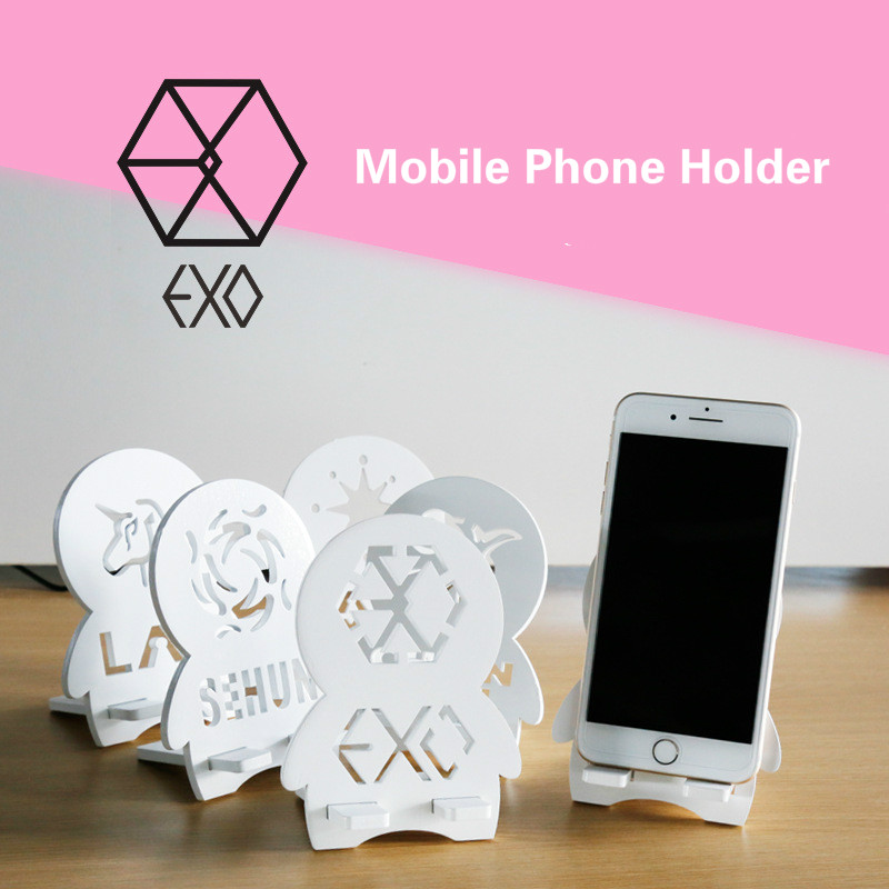Kpop EXO Wooden Mobile Phone Holder Support Lazy Desktop Folding Mobile Phone Support Universal Mobile Phone Holder K-pop EXO