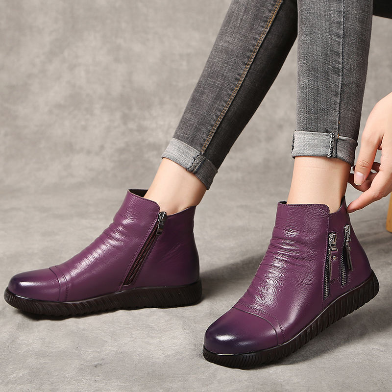 Superstar genuine leather boots women plush snow boots mom shoes designer zipper wedges shoes woman ankle boots