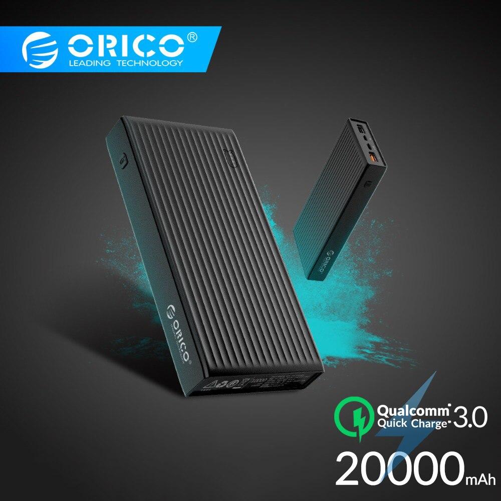 Banco de energía ORICO 10000-20000mAh batería externa portátil cargador móvil USB Ultra delgado banco de energía de carga rápida