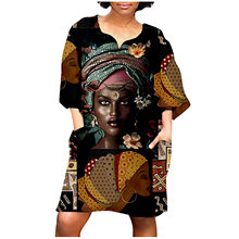 Vintage Kleid Übergroßen Frauen Mode Afrikanische Druck Nahen Sleeve V Neck Casual Kleid Plus Größe Kleid Für Frauen Frau Kleid