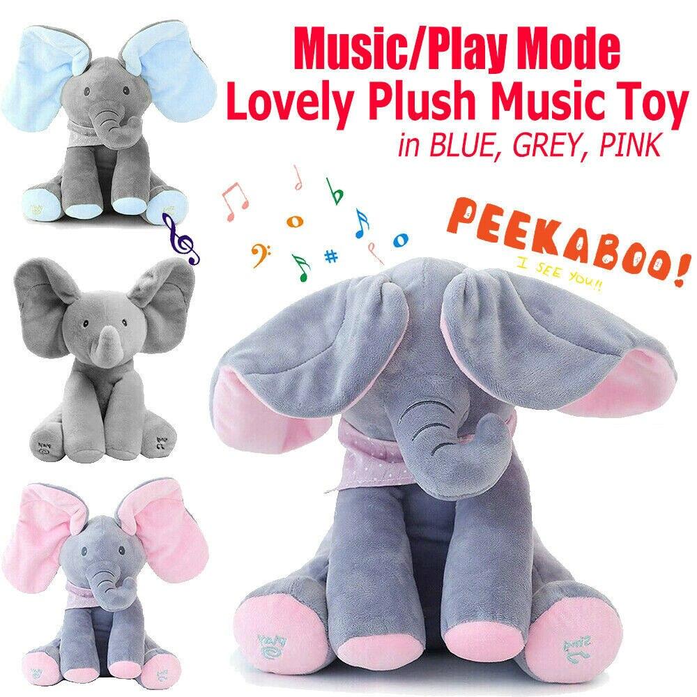Elefante brinquedos vai cantar com música elefante capa olhos bebê elefante boneca crianças acompanhando brinquedos de pelúcia para crianças