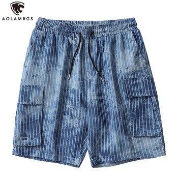 цена на Aolamegs Men Casual Shorts Distressed Hip Hop Joggers Streetwear Elastic Drawstring Sport Shorts Men Baggy Sweatpants for Men