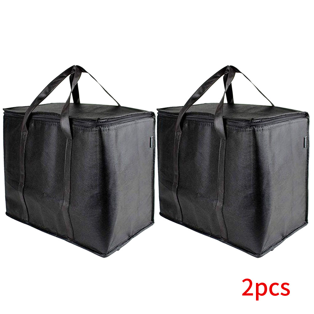 2pcs Portable Shopping Insulated Grocery Bags Washable Free Standing Reinforced Bottom Foldable Reusable Durable Large Capacity