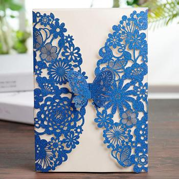 WISHAMDE Glitter Royal Blue Laser Cut Wedding Invitations Card with Butterfly Lace Flower Designs for Birthday Baby Shower 50pcs