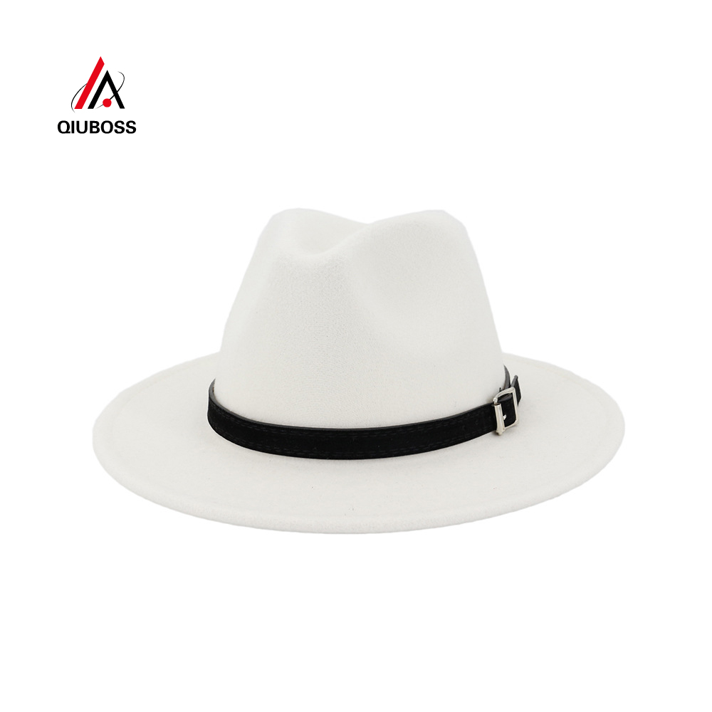 QIUBOSS Men Women Wide Brim Wool Felt Fedora Panama Hat With Belt Buckle Jazz Trilby Cap Party Formal Top Hat In White,black