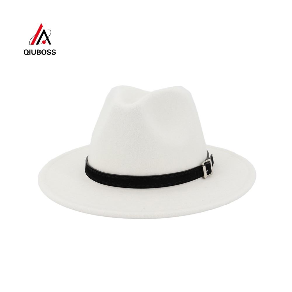 QIUBOSS Men Women Wide Brim Wool Felt Fedora Panama Hat With Belt Buckle Jazz Trilby Cap Party Formal Top Hat In White,black