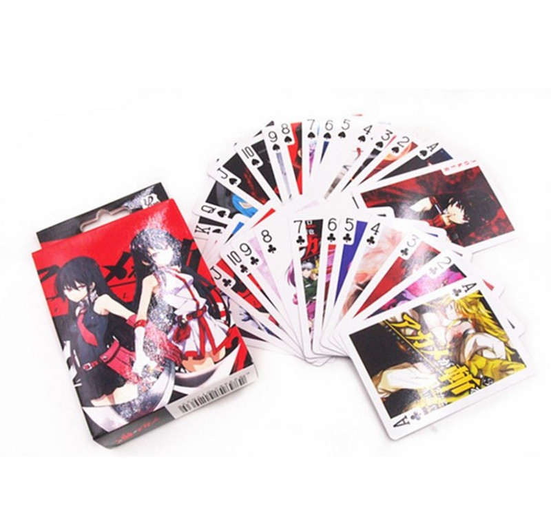 10 Boxes/lot Anime Akame Ga Kill Poker Cards Cosplay Tatsumi Mine Board Game Cards With Box Playing Cards Desktop Game Card