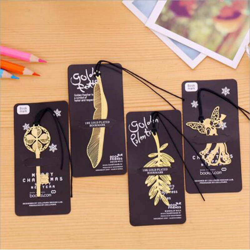 1pc Feather Angel Key Bookmarks Creative Classical Exquisite Mini Metal Art Pattern Bookmark Children's Gifts Office Stationery