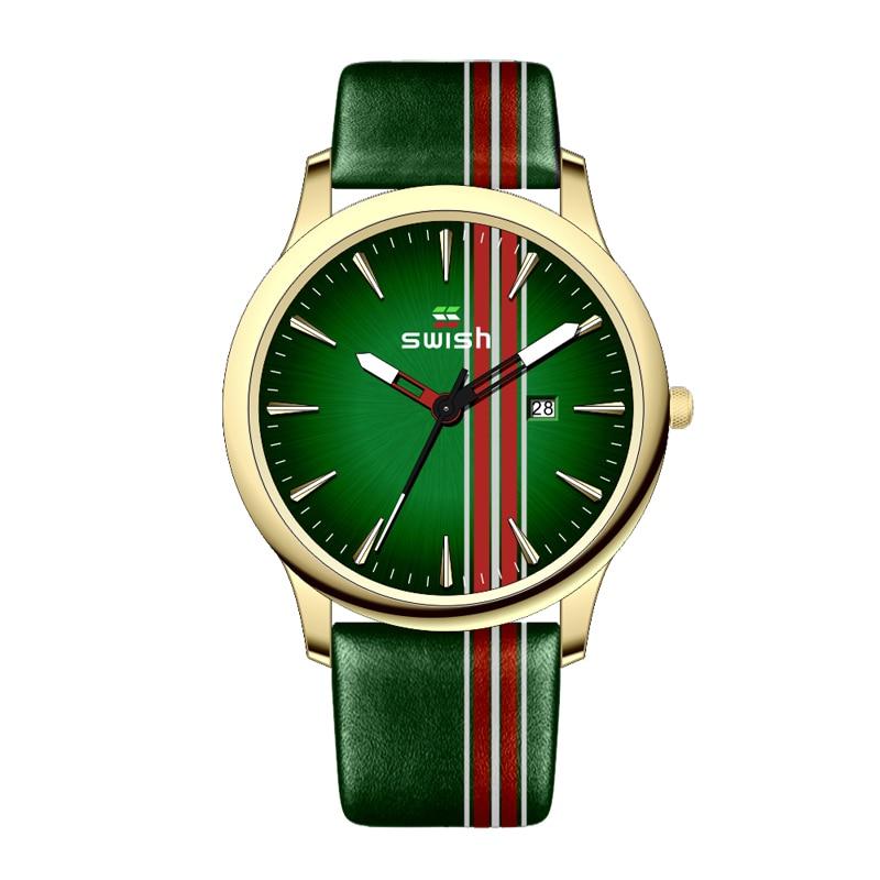 Casual Leather Watch for Men 2020 Fashion Brand SWISH Waterproof Sports Military Watches Calendar Quartz Wristwatch Male Reloj
