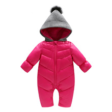 Zima zagęścić bawełny-ocieplana odzież wierzchnia odzież dla niemowląt dziewczyny Boys Baby pajacyki z kapturem wiatroszczelna maluch Sonw garnitur długie kurtki tanie tanio changbvss Europejskich i amerykańskich style REGULAR Poliester Cotton Dla dzieci 0 33kg W dół i parki Pasuje prawda na wymiar weź swój normalny rozmiar