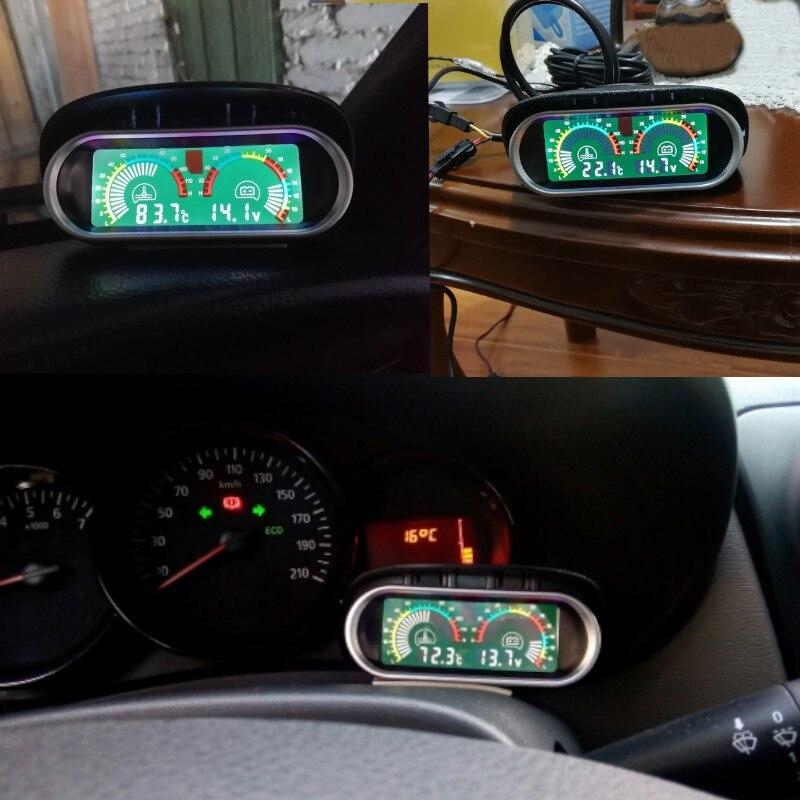 2in1 Dashboard Car Water Temperature Gauge Meter Voltmeter Voltage w// Sun Shade