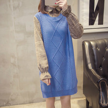 High quality sweater, Joint Jersey Dress, Autumn And Winter Bell Sleeve Hipster Sweater WOMEN'S Coat exaggerate bell sleeve pencil dress