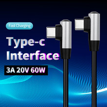 Type c Elbow Data Cable 3A 20V 60W Double Type-c Mobile Phone Laptop Charger Fast Charging Cables 0.2m 0.5m 1m 2m Wire