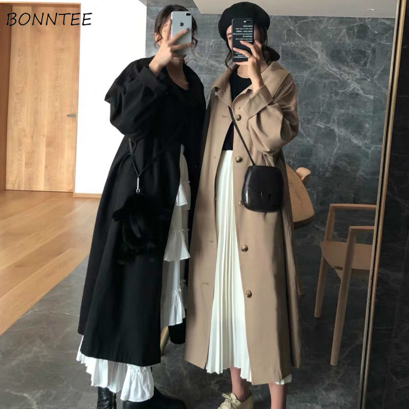 Trench Women Single Breasted Korean Style Pocket Solid Long Coats Womens Large Size 3XL Soft Leisure Clothes Straight Students
