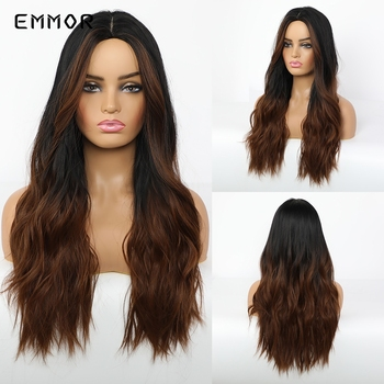 Emmor Long Dark Brown with Highlight Red Brown Wavy Synthetic Hair Wigs with Bangs High Temperature Ombre Daily Wig for Women emmor natural wave synthetic hair wigs for women high temperature cosplay costume party daily use ombre dark brown wig