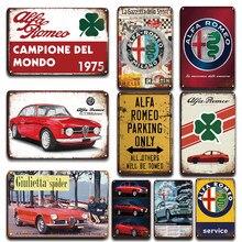 Cartel de Metal Vintage Alfa Romeo, signo de garaje, placa decorativa para el hogar, pegatina de pared, decoración, PLACA de Metal de estacionamiento Retro