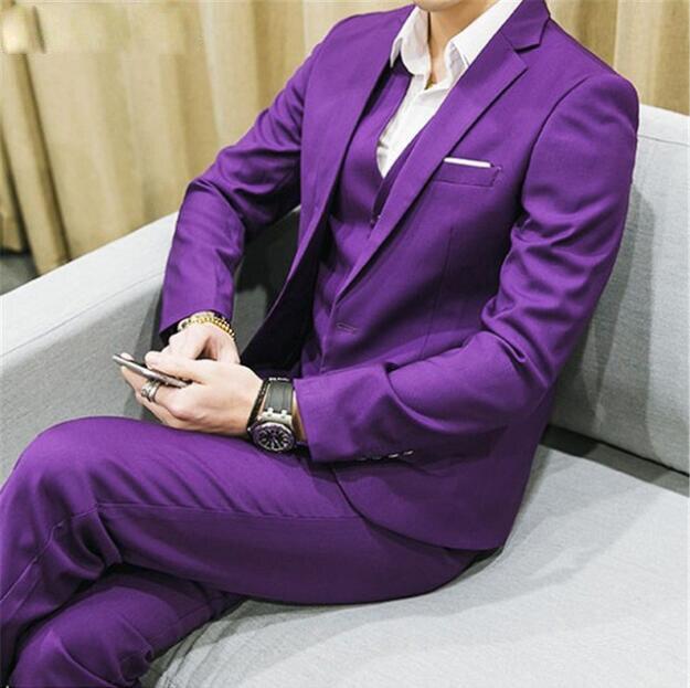 Jacket+Pant+Vest 2019 Custom Slim Fit Men's Pure Color Suit Slim Fit Fashion Leisure Wedding Suits For Men  Costume Homme Tuxedo
