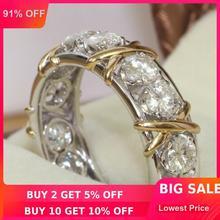 Choucong ювелирные изделия вечности камень 5A Циркон Камень 10KT белое и желтое золото заполненное Женское Обручальное кольцо Sz 5-11