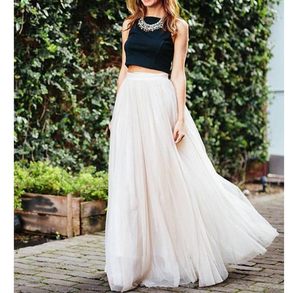 Maxi Long White Tulle Mesh Skirts For Women Elastic High Waist Lolita Elegant Girls Juniors Prom Party Saias Jupe Clothes Faldas