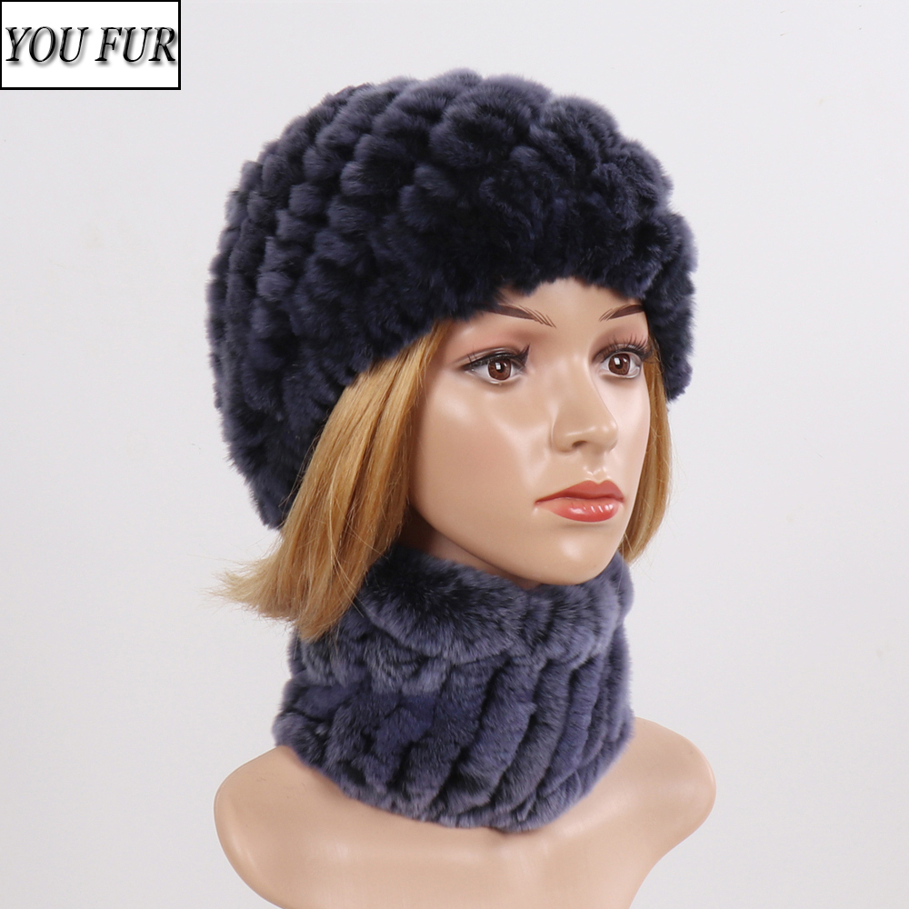 New Women Real Rex Rabbit Fur Hat Scarf Sets Natural Warm Rex Rabbit Fur Scarves Hat Winter Lady Real Rex Rabbit Fur Hat Scarf