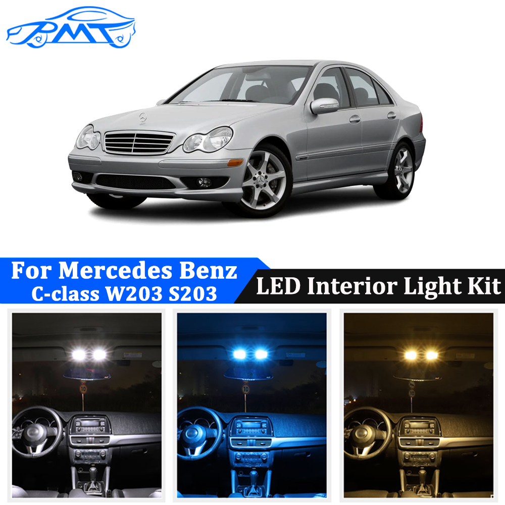 BMT 15Pcs Car Interior Light Kit For <font><b>Mercedes</b></font> <font><b>Benz</b></font> C Class S203 W203 <font><b>C230</b></font> C240 C280 C320 C32 AMG C55 AMG Canbus Lamp Bulbs image