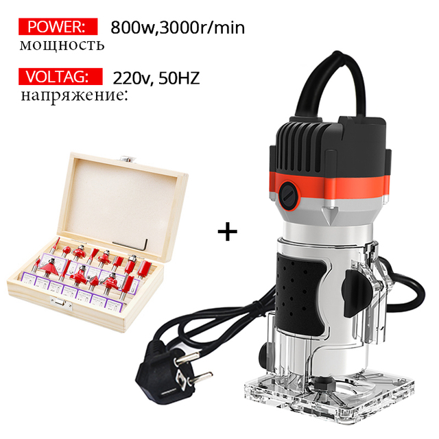 800w 30000rpm Wood Router Tool Combo Kit Electric Woodworking Machines Power Carpentry Manual Trimmer Tools With Milling Cutter