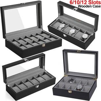 цена 6/10/12 Slots Watch Box Black Wooden Luxury Watch Case Watch Display Strage Organizer Glass Top Watches Collector Storage D40 онлайн в 2017 году