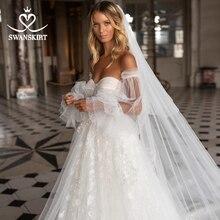 SWANSKIRT sevgiliye Illusion düğün elbisesi 2020 2 In 1 kollu A Line prenses özelleştirilmiş gelin kıyafeti Vestido de novia I327