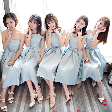 Mid-length Sister Group Bridesmaid Service Sisters Skirt Bridesmaid Mission Formal Dress 2017 New Style Korean Style Evening Dre
